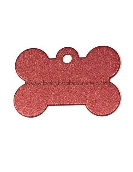 Colgante Hueso Identificacion Rojo Aluminio