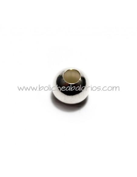 Cuenta Bola Lisa 5mm Plata de Ley
