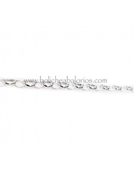 Cadena Rolo Ovalada 4x3mm Plata de Ley