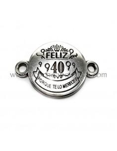 """Conector """"Feliz 40 Años"""" 30mm Zamak"""