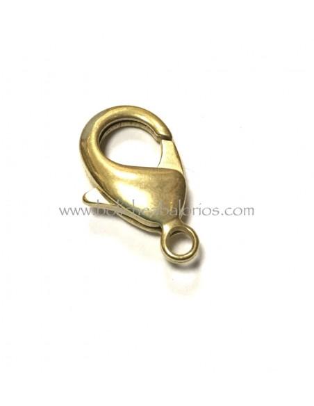 Cierre clasico de mosqueton 15 mm dorado