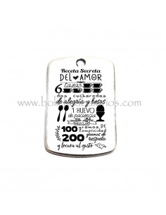 Placa Receta Secreta del Amor 49mm Zamak