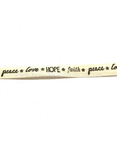 Cinta de Algodon Hope/love/faith/peace
