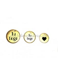 Medallas Grabadas con Logo de Latón Dorado