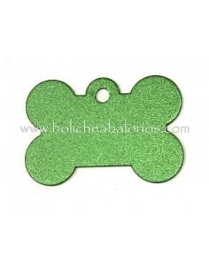 Colgante para Mascotas Hueso Verde Aluminio