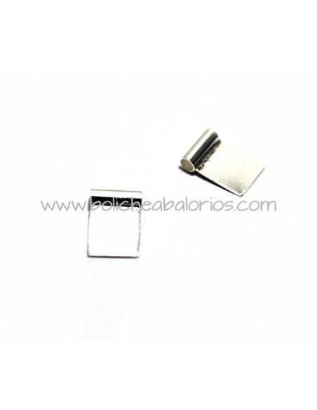 Chapa Rectangular para Pegar 12x8mm Plata de Ley