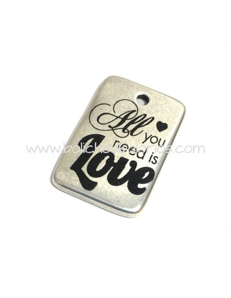 Placa All You Need is Love 30mm Zamak