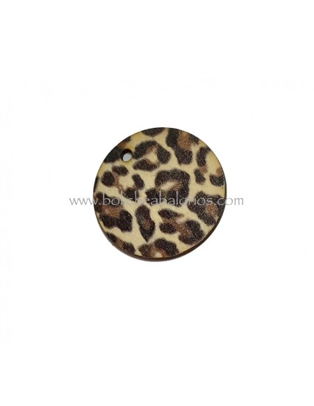 Colgante Animal Print 25mm Madera