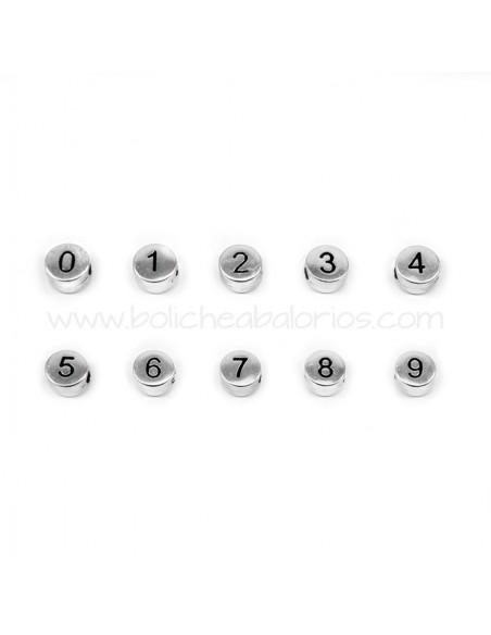 Cuenta de Zamak con Números 7mm