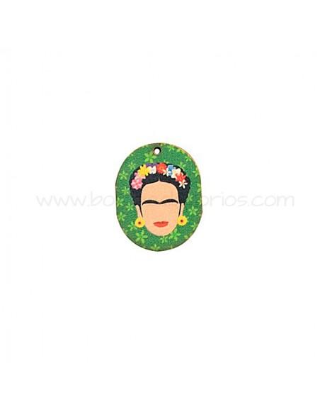 Colgante de Madera Frida Kahlo Verde 24x30mm