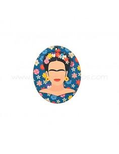 Colgante de Madera Frida Kahlo Azul 37x45mm