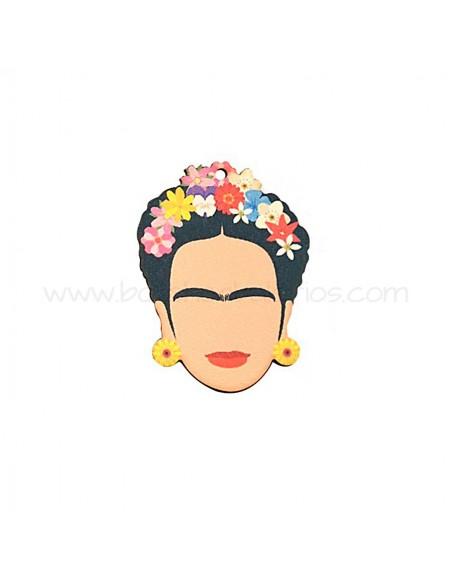 Colgante de Madera Cara de Frida Kahlo 41x54mm