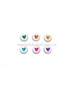 Cuenta Blanca de 7 mm corazon