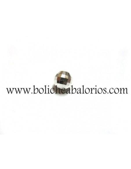Cuenta Bola Facetada 4mm Plata de Ley