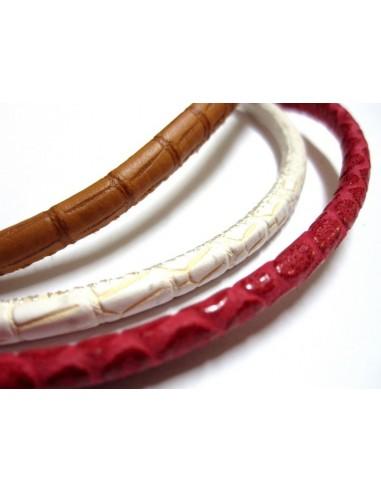 Hilo de cuero de 5mm de grosor con estampado de serpiente. Alta produccion.Unidad de venta 20cm.