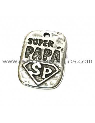 Colgante Rectangular Super Papá 25mm Zamak