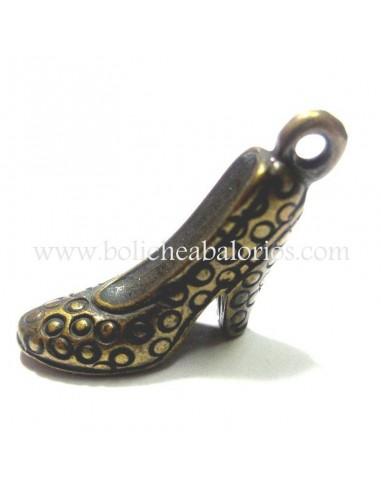 Colgante Zapato de tacon 15mm Oro Viejo