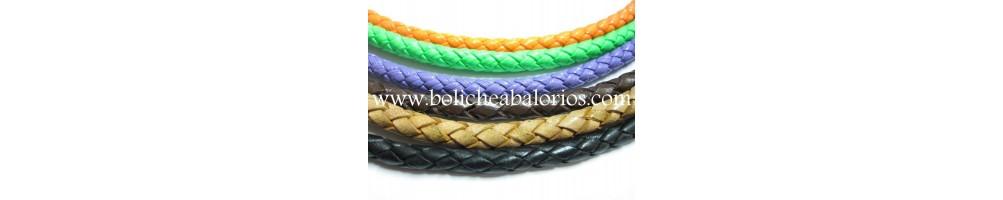 Cuero trenzado para montar pulseras y collares con cierres y piezas de zamak