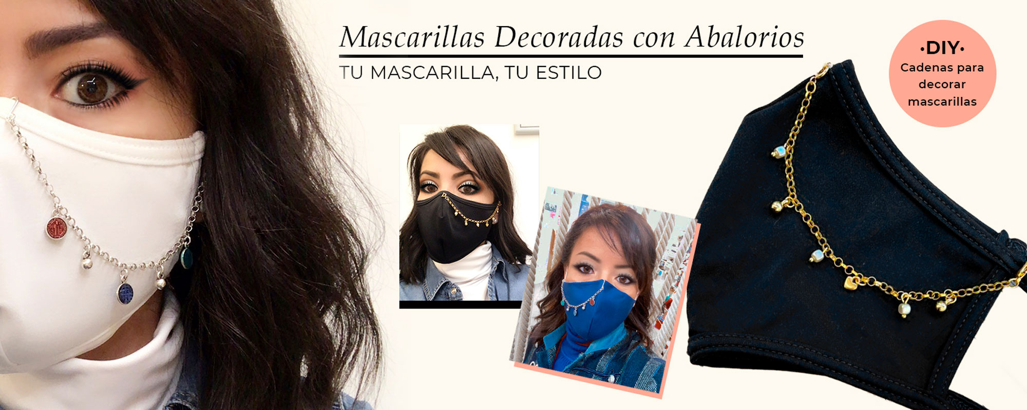 mascarillas decoradas con abalorios